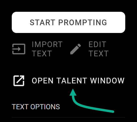 Open talent window check box