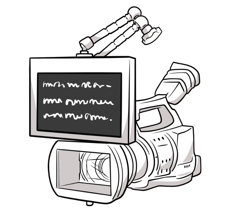 Prompter monitor mounted over camera via articulated arm