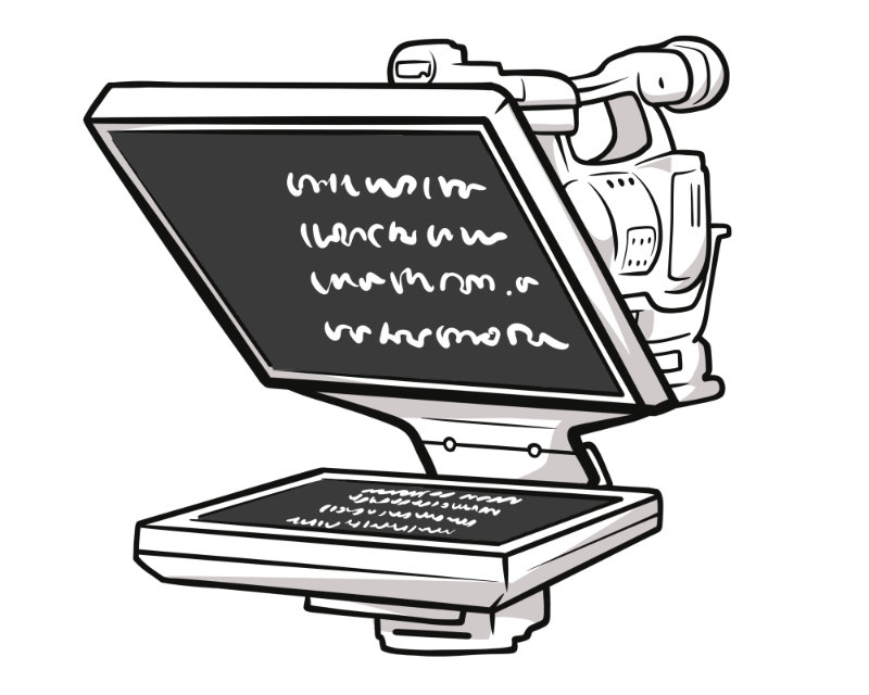 Through-the-lens style teleprompter setup